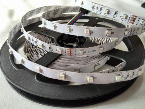 Светодиодная лента smd 3528 RGB, на белой основе, 60 led на 1 метр