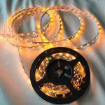 Светодиодная лента smd 3528, желтое свечение, на белой основе, 60 led на 1 метр