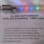 Светодиодные колпачки на велосипед multicolor 5 led