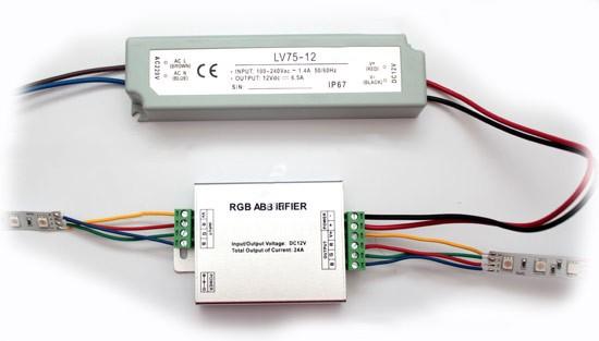 Подключение светодиодной ленты RGB с использованием усилителя